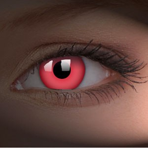 barevné čočky CRAZY glow red UV svítící 2ks
